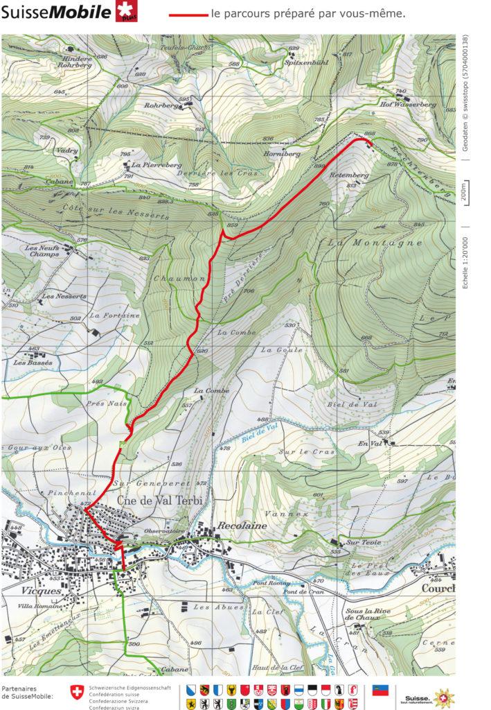 Parcours pédestre balade Jura Vicques Retemberg
